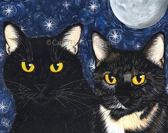Black Cat Painting Black Cat Art Tortoiseshell Cat Moon Stars Gothic Cat Portrait Fantasy Cat Art Print 5x7 Cat Lovers Art