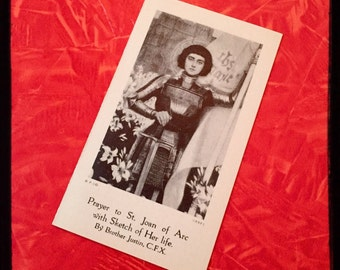 Antique JOAN of ARC PRAYER Card & Life Story
