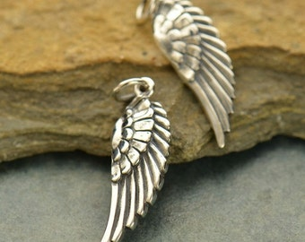 Sterling silver wing charm or pendant - one wing pendant - angel wing - bird wing feather - sterling charm - sterling wing pendant