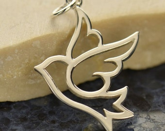 Sterling silver large peace dove bird charm