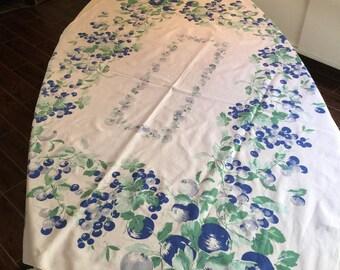 Vintage Table Linen - Royal Blue Strawberry Patch Rectangular Medallion Tablecloth - Vibrant Rare Retro Colors