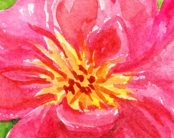 Peony ACEO original watercolor, art card, Pink Flower Painting , SharonFosterArt