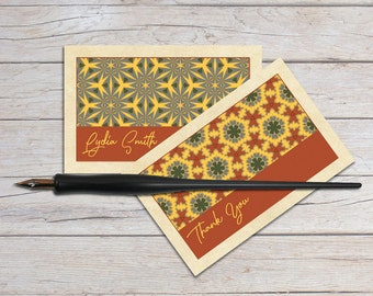 Personalized Gift Enclosure Cards, Gift Card Holder, Blank Note Card Set, Mini Notecards, Country Primitive Patterns, Unique Art Cards