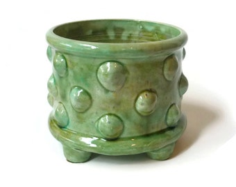 Green Planter Pot with Bumps and Feet
