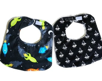 Baby Bib Set, Baby Boy Bib, Spaceships Infant Bibs, Handmade Baby Bibs Set of 2, Spacecraft in Black Bib, 144 Collection