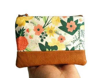 Floral Leather Pouch, Coin Purse, Change Purse, Zipper Pouch, Coin Wallet, Small Wallet, Change Wallet,