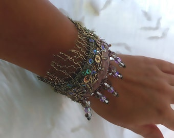Faded Lilac Bracelet, Antique Metallic Embroidery, Silver, Antique Lace, Shimmery, Sparkly, Crystals, Cuff Bracelet