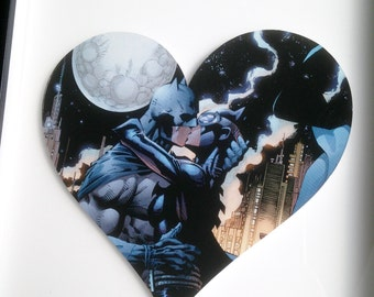 SUPERHERO HEART - Batman and Catwoman Framed Heart