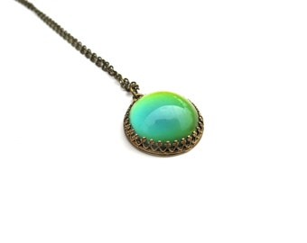Modern Mood Pendant - Bronze and Color Changing Stone - Round