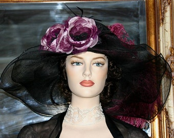 Kentucky Derby Hat Edwardian Hat Downton Abbey Hat - Petunia Petals