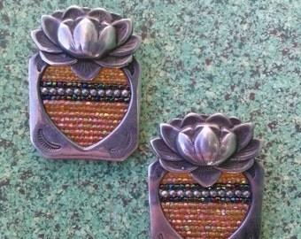 ON SALE Vintage 1970s Earrings Sterling Silver Lotus Inlay Beadwork Native American 20160116J181