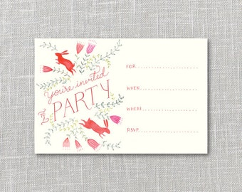 Bright Bunnies Printable Party Invitation