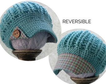 plaid summer hat turquoise plaid fabric brim and wood buttons, reversible hat, baseball cap, button hat, plaid hat summer hat wholesale hat