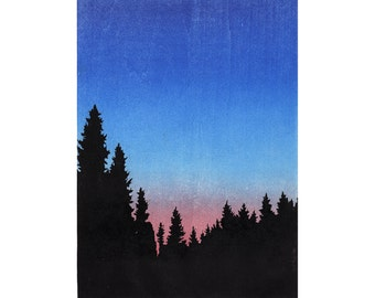 Twilight Woodblock Print tress woods wall art