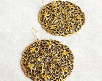 Moroccan earrings, bohemian earrings, brass filigree discs chandeliers, Boho Chic earrings, Birthday gift idea, Mother's Day gift