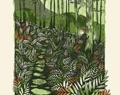 Through The Ferns - Screenprinted Art Print