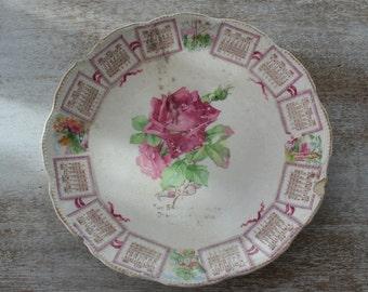 vintage 1909 Calendar PLATE - Chic Roses Cottage - Shabby Decor