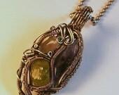 Peridot Diamond Quartz Amethyst  & Silver Wire Wrapped Victorian Inspired Pendant