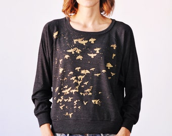 Flock Pullover, Metallic Gold Print, Black Comfy Cozy Top SALE