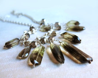Smoky Quartz Bib Necklace, Sterling Silver Brown Gemstone Necklace, Smoky Quartz Crystal Daggers Necklace