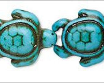 NEW  Turquoise Howlite Distinctively Carved Turtle Spacer Beads Findings 18-19mm 2 pieces