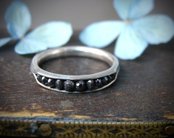 raw black diamonds in palladium silver