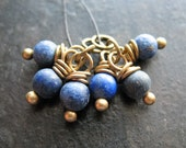 Lapis Lazuli and Antiqued Brass Bead Charms - 1 Pair - 6 pieces