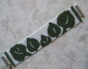 Spring Leaves Peyote Stitch Cuff Bracelet, Green & White