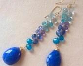 Shades of Blue Woven Earrings Lapis Tanzanite Apatite