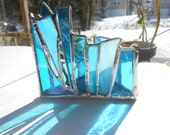 Turquoise Chakra Zen Zone Triangle Shaped Stained Glass Candle Holder Meditation