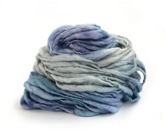 Thick and thin wool handdyed mega chunky slub pure wool, dread falls knitting crochet Perran Yarns denim blue super bulky felting yarn