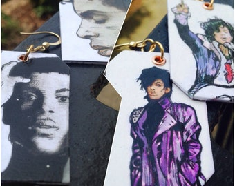 Prince Glory Days hand-painted earrings - double sided - purple rain and glory days