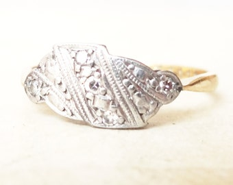 Art Deco Geometric Cloud Ring, Vintage 18k Gold, Platinum and Diamond Engagement Ring, Approx Size 7.25