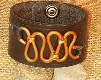 Upcycled Distressed Black Wrist Cuff with Copper Wire Design- Medium