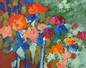 Abstract Floral Painting Original Contemporary Roses Impressionist Art Wall Art Bold Bright Flowers Acrylic Painting on Canvas Monfort