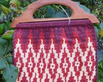 Vintage Bohemian Bag/ 70s Ikat Purse/ Woven Bag