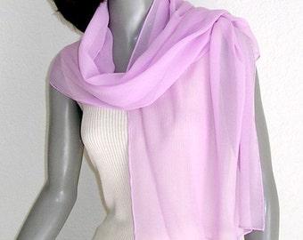 Orchid Pink Scarf, Light Pink Wrap, Hand Dyed, Hand Hemmed, Light Fuchsia, One of a Kind, Formal Scarf, Evening, Artisan Handmade, Artinsilk