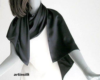 "Black Silk Charmeuse Shawl Wrap, Petite Silk Coverup, Small Silk Stole, Black Silk Charmeuse,  21.5""x 60"", Ready to Ship, Artinsilk"