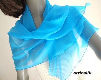"Turquoise Blue Scarf, Sheer Silk Chiffon, Light Azure Coverup, Cobalt Wrap, Sapphire Blue, Small Wrap, Pure Silk, Petite 20x44"", Artinsilk."