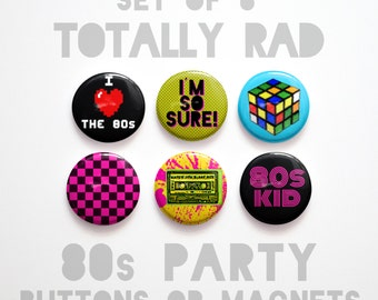 "Mom Gifts for Mom- 80s Buttons 1 inch or Magnets Set of 6- 1"" 80s Party Decorations- 1980s Magnets"