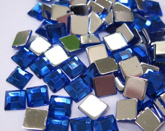 Acrylic Rhinestone Cabochon Beads, Faceted, Square, Blue, 6mm, 400pcs