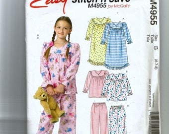 McCall's Child's and Girls' Robe Nightgown, Top and Pants Pattern 4955