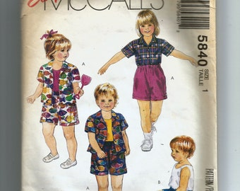 McCall's Toddlers' Shirt, Top and Shorts for Stretch Knits Only Pattern 5840