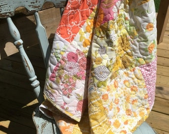 35% OFF CRAZY SALE- Upcycled Baby Quilt-  Flower Power Linens Collection-Pink Sunrise