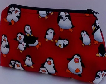 Cosmetic Pouch, Make Up Bag, Zippered, Carry All  -  penguins