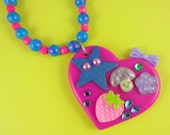 Pink and Blue Decoden Heart Necklace - collage pendant with strawberry star mushroom rhinestones - fun cute kitsch Harajuku Decora Fairy-Kei