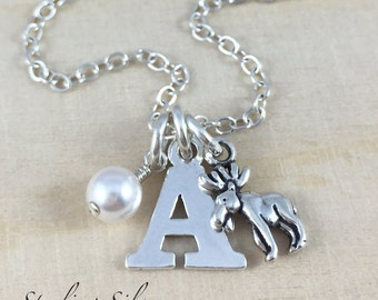 Personalized Moose Charm Necklace, Initial Necklace, Birthstone Jewelry, Sterling Silver Moose Necklace, Personalized Moose Gift