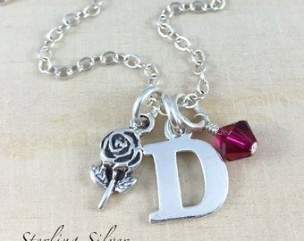 Sterling Silver Rose Charm Necklace, Personalized With An Initial Charm And Birthstone, Rose Charm Necklace, Flower Jewelry, Rose Gift