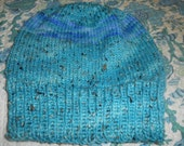 Hand knit hand dyed super soft merino alpaca watch cap skicap skullcap beanie hat Men women teens one size blue green aqua donegal tweed