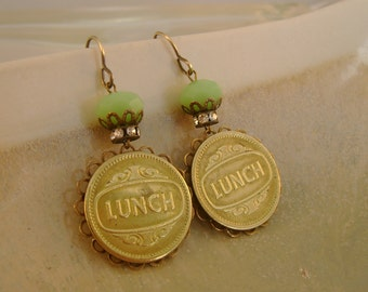 "Ladies Who Lunch - Vintage Brass ""Lunch"" Tokens, Bezels, Rhinestones Recycled Repurposed Jewelry Earrings"
